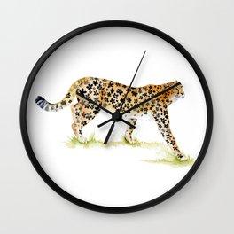 Flower Pattern Cheetah Wall Clock