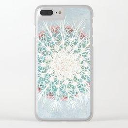 Cactus mandala - aqua mist concrete Clear iPhone Case