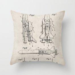 Nasa Space Shuttle Patent - Nasa Shuttle Art - Antique Throw Pillow