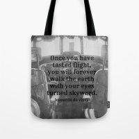 da vinci Tote Bags featuring Flight Da Vinci by KimberosePhotography