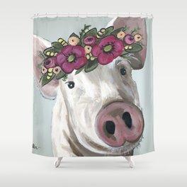 Pig with Flower Crown, Cute Pig, Farm Animal Art Shower Curtain