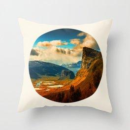 Orange Cliff Blue Sky Throw Pillow