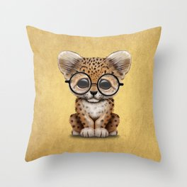 Cute Baby Leopard Cub Wearing Glasses on Yellow Throw Pillow