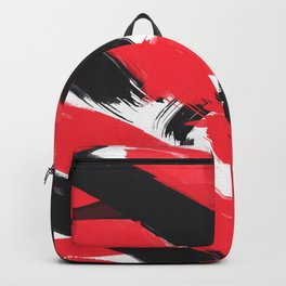 Modern Abstract Black Red Brush Strokes Pattern Backpack