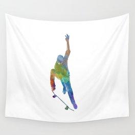 Man skateboard 04 in watercolor Wall Tapestry