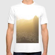 Rio de Janeiro Skyline with Christ the Redeemer MEDIUM Mens Fitted Tee White