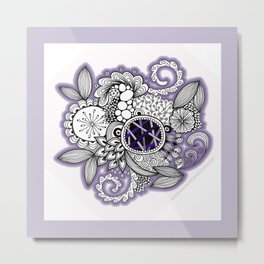 Pretty in Purple Zentangle Design Illustration Metal Print