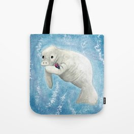 Manatee and Butterfly Watercolor and Digital Art Tote Bag