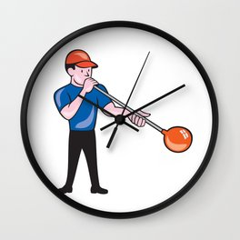 Glassblower Glassblowing Isolated Cartoon  Wall Clock