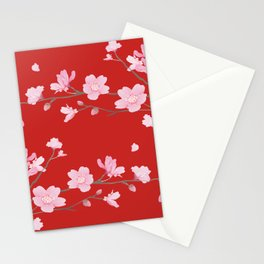 Cherry Blossom - Red Stationery Cards