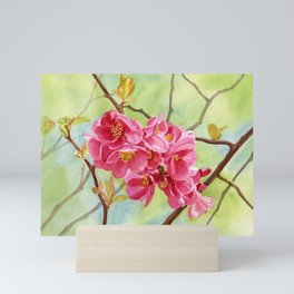Pink Flowering Quince with Yellow Green Background Mini Art Print