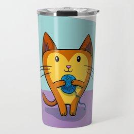 A Kitten that loves Sewing Travel Mug
