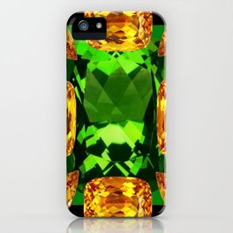 Emerald & Topaz Birthstone Gems Yellow-Green-Black Design iPhone Case
