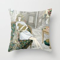 puppies Throw Pillows featuring Two Puppies by Yuliya