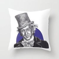 willy wonka Throw Pillows featuring Willy Wonka by Rachel Morgan Kitti