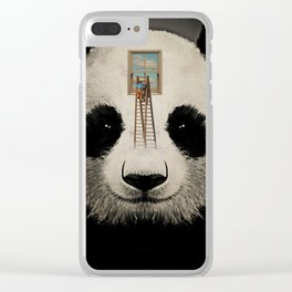 Panda window cleaner 03 Clear iPhone Case