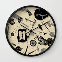 the walking dead Wall Clocks featuring Artifacts: Walking Dead by Josh Ln
