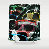 sunglasses Shower Curtains featuring Sunglasses 101 by Alex DZ