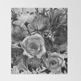 Bella Rose Black and White Throw Blanket