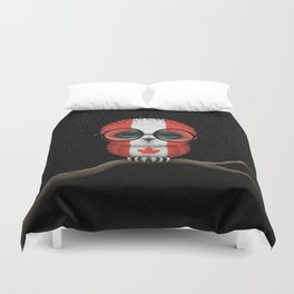 Baby Owl with Glasses and Canadian Flag Duvet Cover
