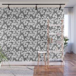 Puya Flowers Floral Pattern Greyscale Wall Mural