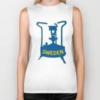 sweden Biker Tanks featuring Sweden | Brass Pressure Stove by mailboxdisco