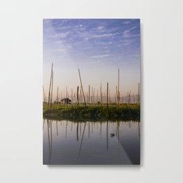 Farmer Mirror Myanmar   Inle lake blue sunrise Fine art   Color - pink - travel - photography - Art print Metal Print