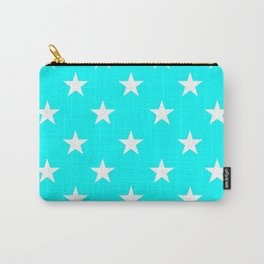 Stars (White/Aqua Cyan) Carry-All Pouch