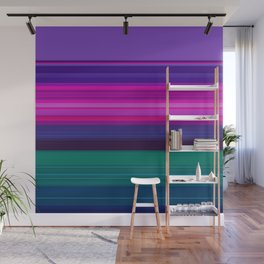 Vibrant Purple Pink and Green Stripes Wall Mural