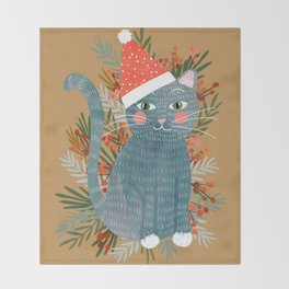 Blue Cat cute christmas xmas tree holiday funny cat art cat lady gift unique pet gifts Throw Blanket