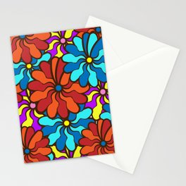 floral background. field of multi colored bright summer colors for the background Stationery Cards