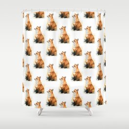 Red Fox Pattern Shower Curtain
