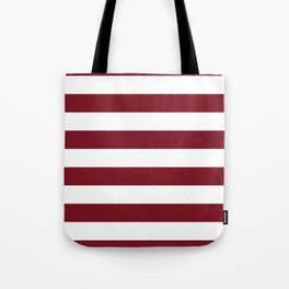 Deep Red Pear and White Wide Horizontal Cabana Tent Stripe Tote Bag