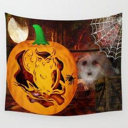 Sirens Pumpkin Carving Halloween Folk Art Wall Tapestry