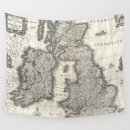 Vintage Map of England and Ireland (1631) Wall Tapestry