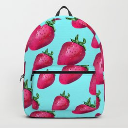 Fun Summery Strawberry Print With Light Blue Background! (Large Scale) Backpack