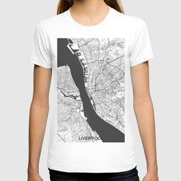 Liverpool Map Gray T-shirt