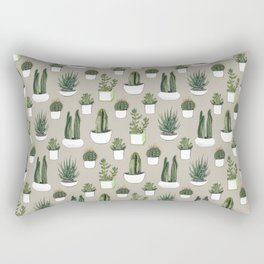 Watercolour cacti & succulents - Beige Rectangular Pillow