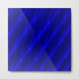 Slanting repetitive lines and rhombuses on luminous blue with intersection of glare. Metal Print