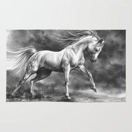 Running white horse - equine art Rug
