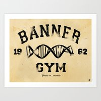 gym Art Prints featuring Banner Gym by Mitch Ethridge