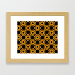 Pumkin Black and Gold Floral Mandala Fractals - Moroccan style Framed Art Print