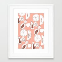 fruits Framed Art Prints featuring Fruits by Bouffants and Broken Hearts