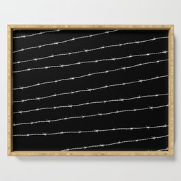 Cool black and white barbed wire pattern Serving Tray
