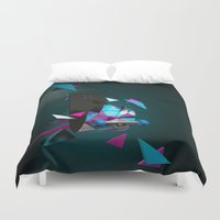 skateboard Duvet Covers featuring Alien Monster Skateboard by IAMLUIGI