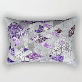 Abstract Geometric Amethyst and Mother of pearl Rectangular Pillow