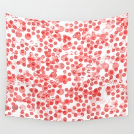 Cherry Polka Dots Distressed Wall Tapestry