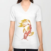 koi fish V-neck T-shirts featuring Koi Fish by Dani Rose