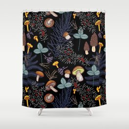 dark wild forest mushrooms Shower Curtain