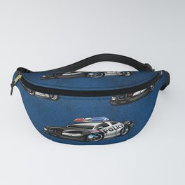 Police Muscle Car Cartoon Illustration Fanny Pack